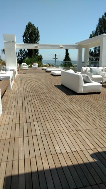 Wooden rooftop deck